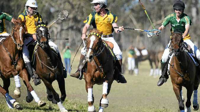 POSSESSION: Hayden Grumley on the attack for Australia in the 31–8 intermediate win against Ireland in polocrosse at Bony Mountain Recreation Reserve.