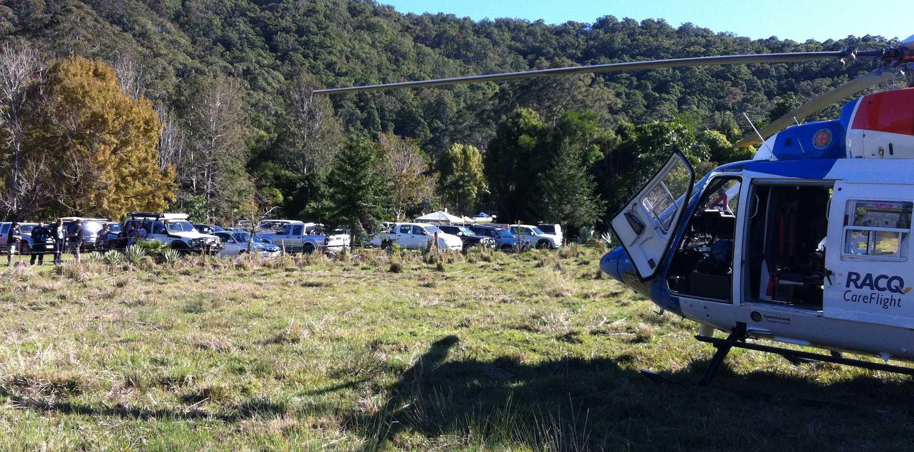 RACQ CareFlight Rescue on scene in Gheerula.