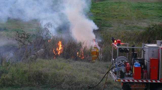A grass fire near Grafton Base Hospital