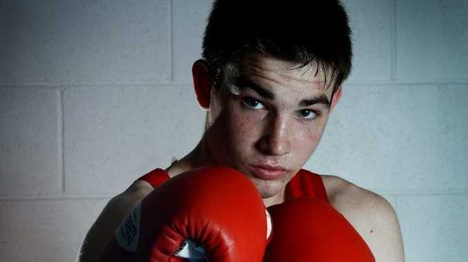 Boxer Dwayne Vlody, 17 of East Lismore fighting for Maloney's Glove Club. Shaping up for his June fight at the Novice Titles in Queensland.
