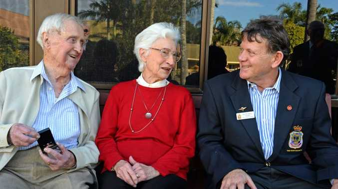 Neville and wife Dorothy Tudehope with Joe Russell, president of Tweed Heads/Coolangatta RSL sub branch. Neville was awarded the Arctic Star medal for his service in the Second World War. Photo: John Gass