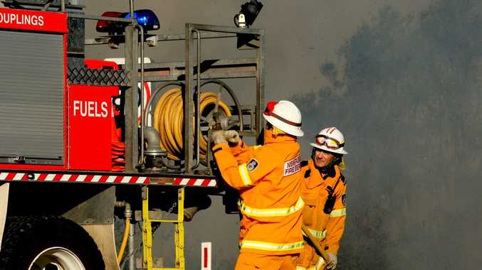 RFS volunteers worked hard to contain the blaze yesterday afternoon.