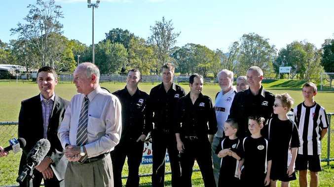 Matt Fraser, Warren Truss and members of the Murwillumbah Football Club. Photo: Contributed