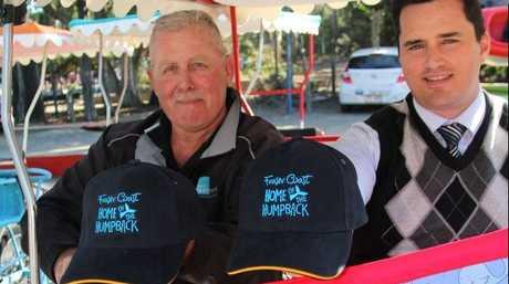 AquaVue owner Larry Burch and Fraser Coast Regional Council tourism and regional marketing portfolio councillor Stuart Taylor show off the pod packs.