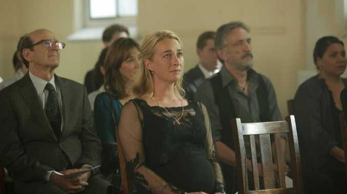 Asher Keddie in a scene from the Offspring season 4 final episode featuring Patrick's funeral.