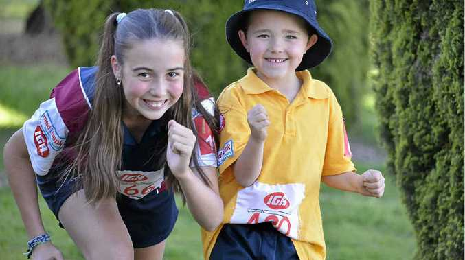 Bryana McGowan and Zachary Jenner are ready for the new season at the Warwick Little Athletics Centre.