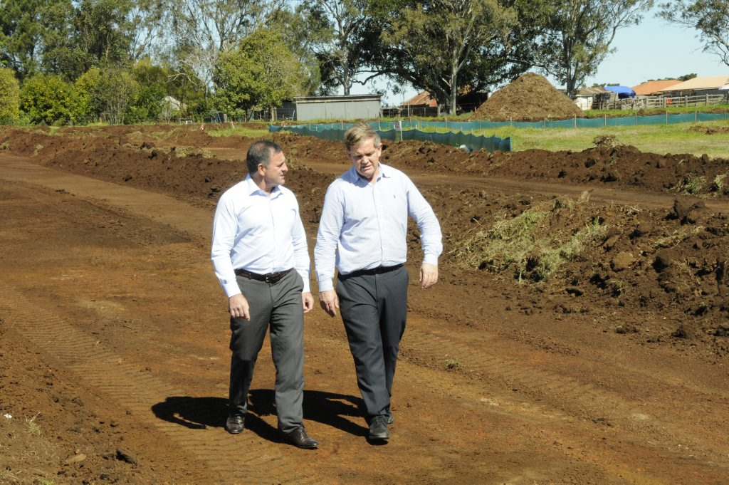 Managing director of Consolidated Properties Don O'Rorke (left) and PRD Nationwide principal Kim Taylor inspect the growing Sanctuary Rise subdivision in Wilsonton.