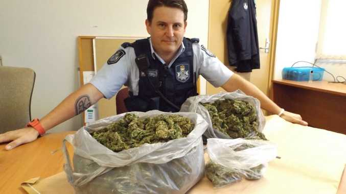 Constable Jamie Griffiths from the Wide Bay Tactical Crime Squad was one of two officers who allegedly found this kilo of cannabis in a vehicle on the Bruce Hwy.