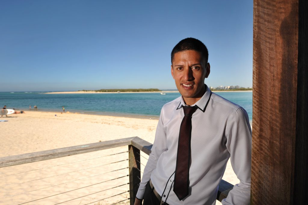 Candidate for Fisher, singer/businessman Jarreau Terry, at Bulcock Beach. Photo: Iain Curry / Sunshine Coast Daily