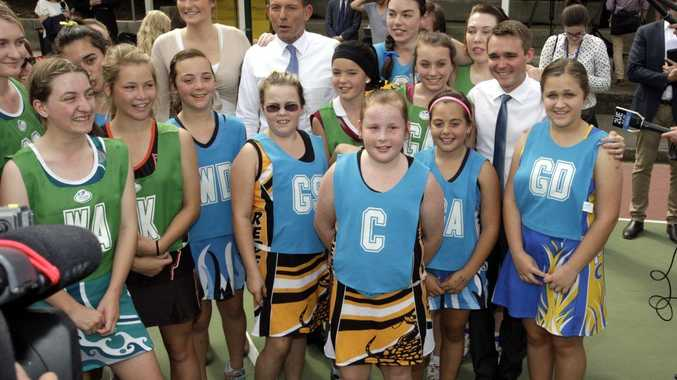 Opposition Leader Tony Abbott and his daughter Bridget with Member for Longman Wyatt Roy at CAboolture Netball Association. Photo Vicki Wood / Caboolture News