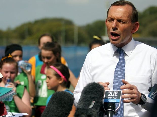 Opposition Leader Tony Abbott speaks to media in Caboolture.