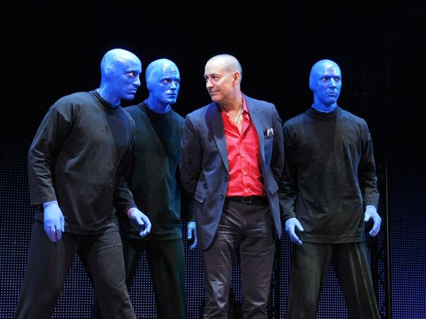 Blue Man Group founding member Phil Stanton pictured with the Australian cast.