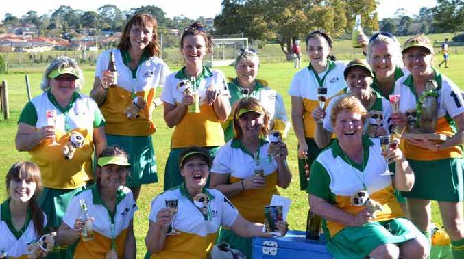 EVANS Head Hockey girls celebrate their win against Northern Star 4-0 on Saturday.