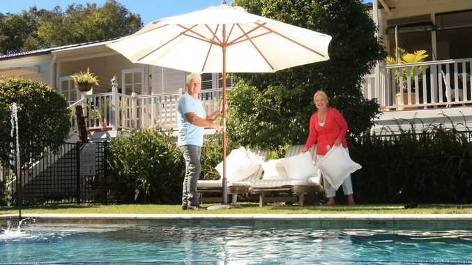 Julie and Ian Mackintosh enjoy the pool area at the Kingscliff Seaside Guest House.