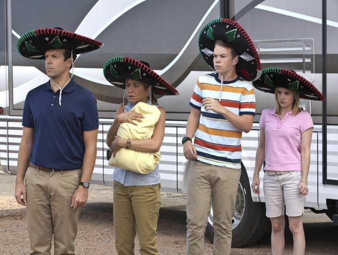 From left, Jason Sudeikis, Jennifer Aniston, Will Poulter and Emma Roberts in a scene from the movie We're The Millers.