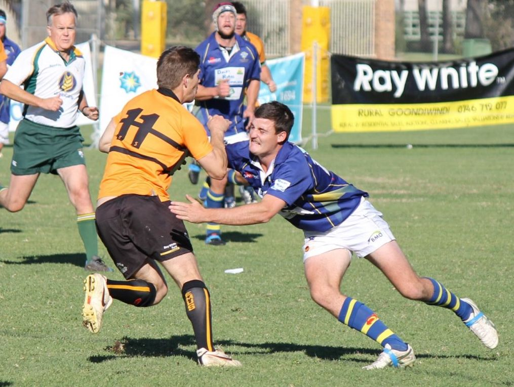 Dalby's Troy Hobbs moves in to tackle Goondiwindi winger Sam Bursle in their round 17 Risdon Cup match.