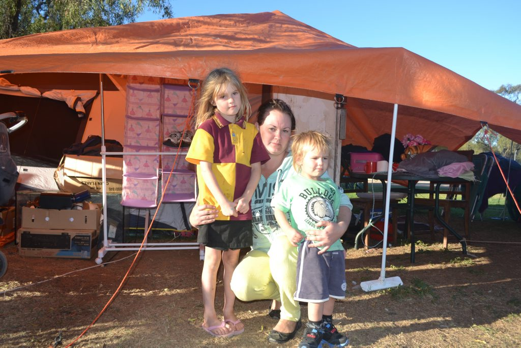 HOMELESS: Belinda Yule and her children Chelsea, 5, and Lachlan, 3, are living in a tent at the showgrounds until they can find an affordable home in Chinchilla. Photo Emma Heron / Chinchilla News