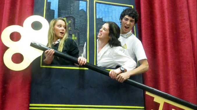 Hervey Bay High students Maddy Grant, Caitie Grant and Shian D'Costa rehearse for the tussle on the Orient Express scene in Gumshoe, to be presented at Pialba's Great Hall on August 16 and 17.