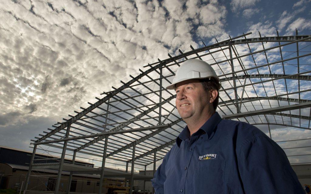 Matt Garry from Kingsthorpe's Bettabuilt is constructing a super-sized hangar in Spitfire St.