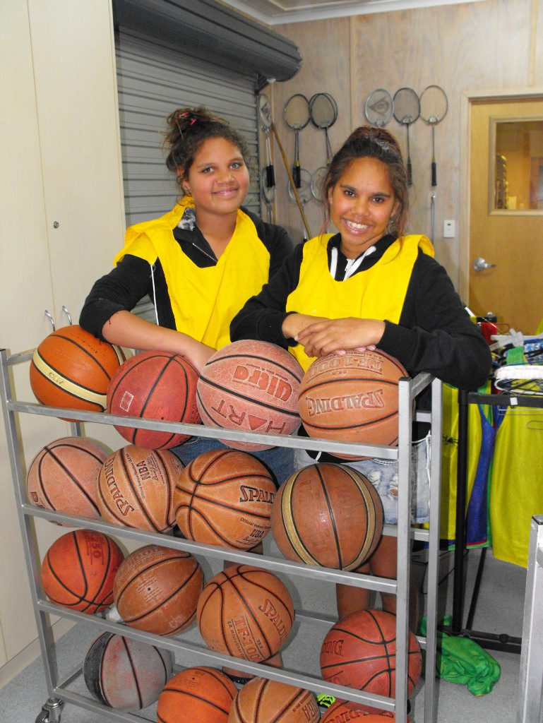 Jasmine Robinson and Shanicka Collins prepare for a game of basketball at Whaddup.