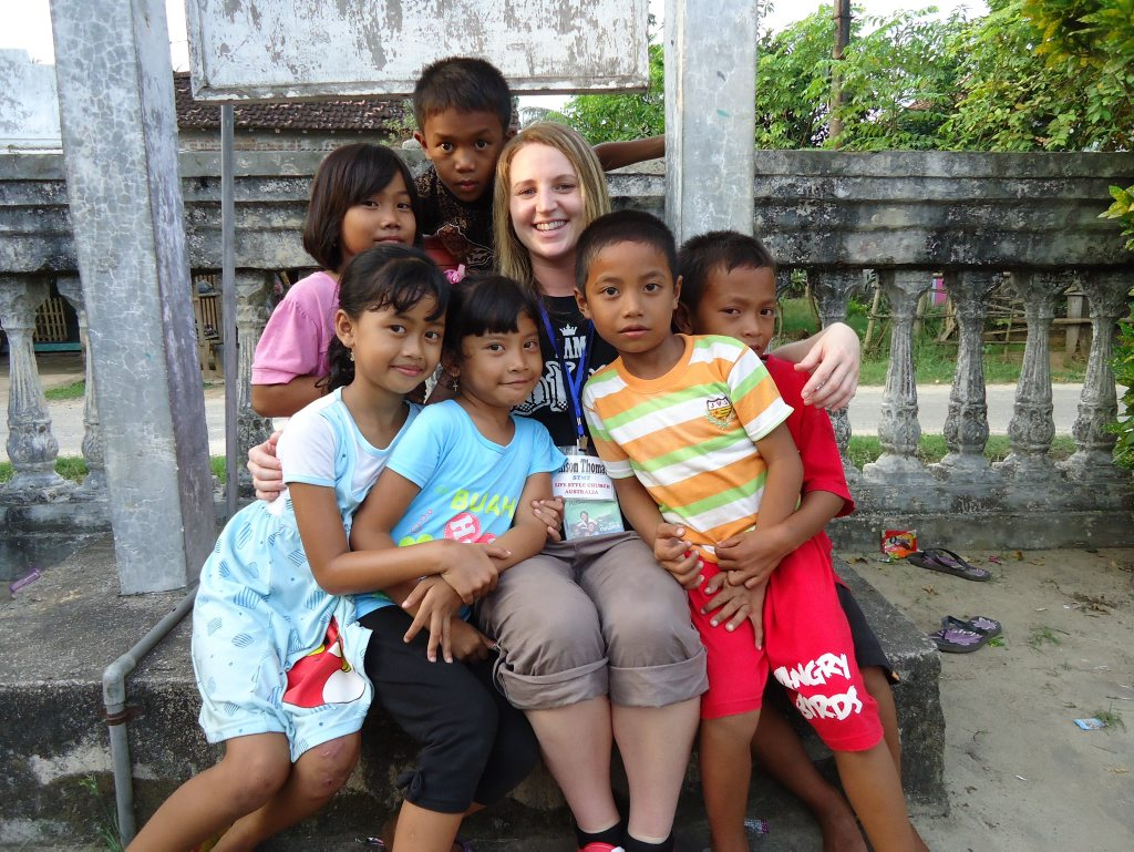 Sponsor children from Jepara absolutely loved spending time with Gladstone's Alison Thomas (team member). Photo Contributed