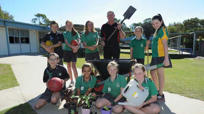Beiersdorf Australia regional business manager Harvey Hull with Sandy Strait State School students (front) Nathan Shelley, Nicola Canu, Kirra-Lee Donovan and Tarni Dyet and (back) Bryan Love, Taylor Hall, Gracie Reeves, Zarley Mitchell and Skye Shorrock.