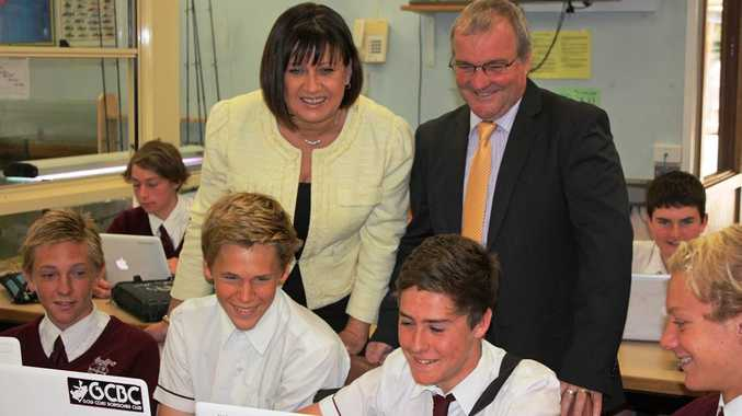 MP Justine Elliot with St Joseph College Principal Eric Littler and the Year 9 industrial Class.