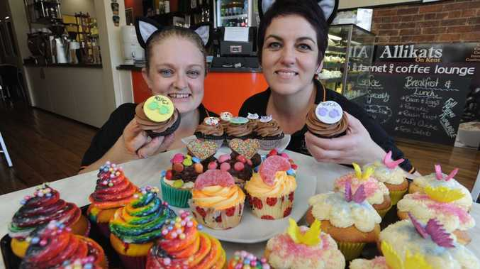 Alli Duggan and Chrystal Rankin from Allikats on Kent with colourful cupcakes for the RSPCA's Cupcake Day on Monday.
