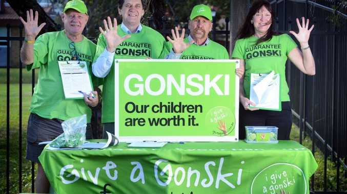 Guarantee Gonski: Frank Barnes, Frank Swientik, Bob Seltin and Linda Hazell in front of Lismore High School.
