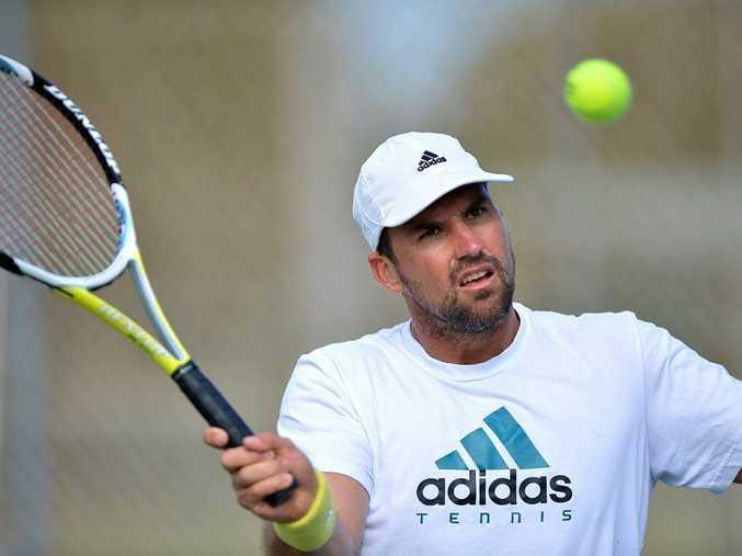 Pat Rafter keeping fit while training at the Kawana Tennis Centre. Photo: Warren Lynam / Sunshine Coast Daily
