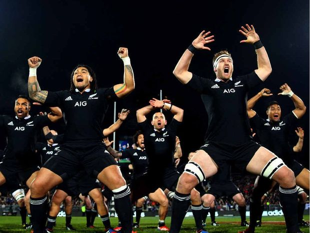 IN YOUR FACE: The All Blacks perform the haka before their recent clash with France in Christchurch.