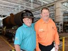 Ex QR employee Colin Wilson with current employee Terry Lindeberg, both men worked together and catching up at the Workers Reunion at The Workshops Rail Museum on Sunday. Photo: Sarah Harvey / The Queensland Times