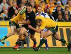 Israel Dagg of the All Blacks breaks the Wallabies defence during The Rugby Championship Bledisloe Cup match between the Australian Wallabies and the New Zealand All Blacks