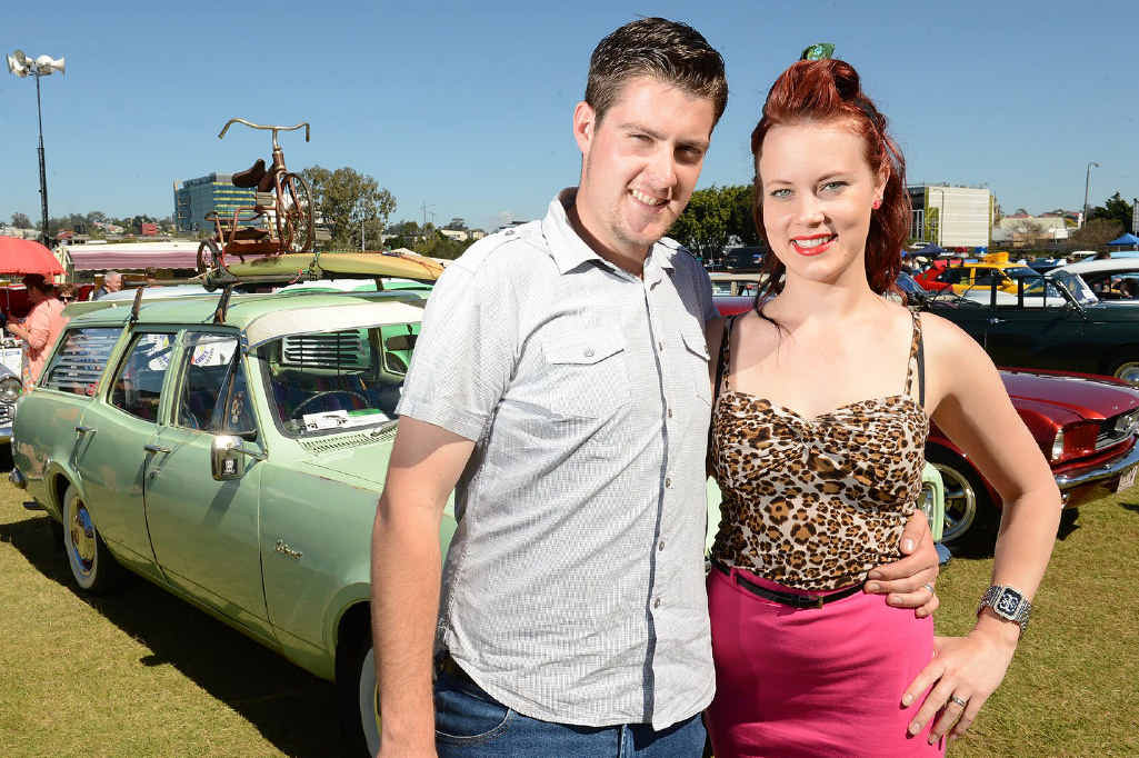PROUD: Evan and Amy Roberts with their Holden HG wagon at the 63 Classic Car Show and Shine.