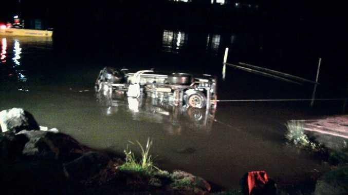 This 4WD went into the Tweed River on Saturday night.