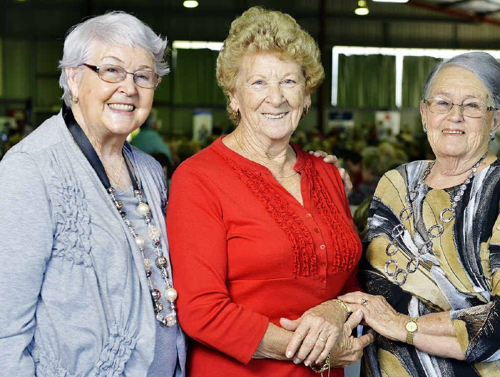 Clarice Leigh from Churchill, Betty Drews from Flinders View and Barbara Johnston from Raceview at the Seniors Week morning tea.