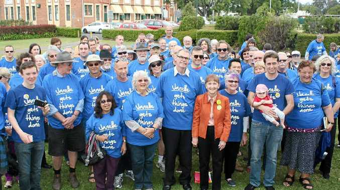 ALL FOR ONE: Janelle Saffin, Senator John Faulkner and supporters launch Ms Saffin's campaign for re-election.