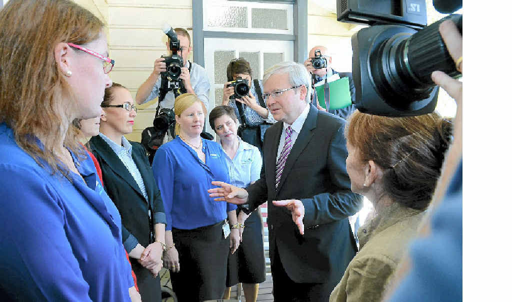 Prime Minister Kevin Rudd met Medicare Local staff in Lismore. Photo Cathy Adams / The Northern Star