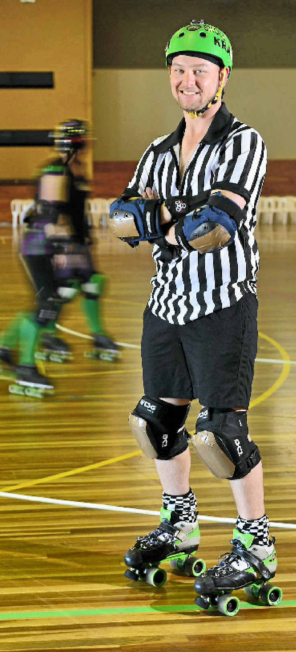 SPEED PLAY: Kris Moseling, known as Skoll Kratta, has earned his stripes as a roller derby referee.