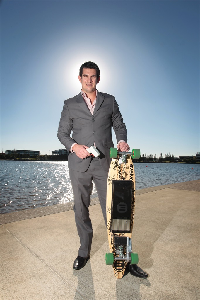 Former NRL and Queensland rugby league player, Chris Flannery, is now a real estate agent for Platinum Properties and an ambassador for Evolve electric skateboards.