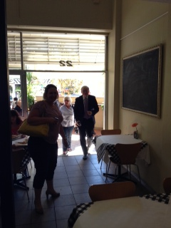 Kevin Rudd arrives at Cafe Cappello for coffee with The Northern Star's editor David Kirkpatrick.