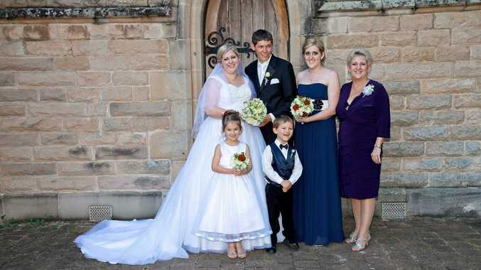 Left to right back: Michelle's eldest daughter Jessica and son in law Tim Price tied the knot at St Paul's Cathedral on June 16, 2012. In pic: Jessica and Tim Price, Kirstin Daniels, ( Michelle's youngest daughter), Michelle Landry and (front) Ella and Balun Martin. ( Michelle's niece and nephew) Photo Contributed