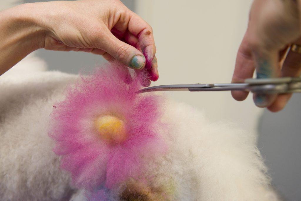 Taryn Binstead works on Pablo's hair.