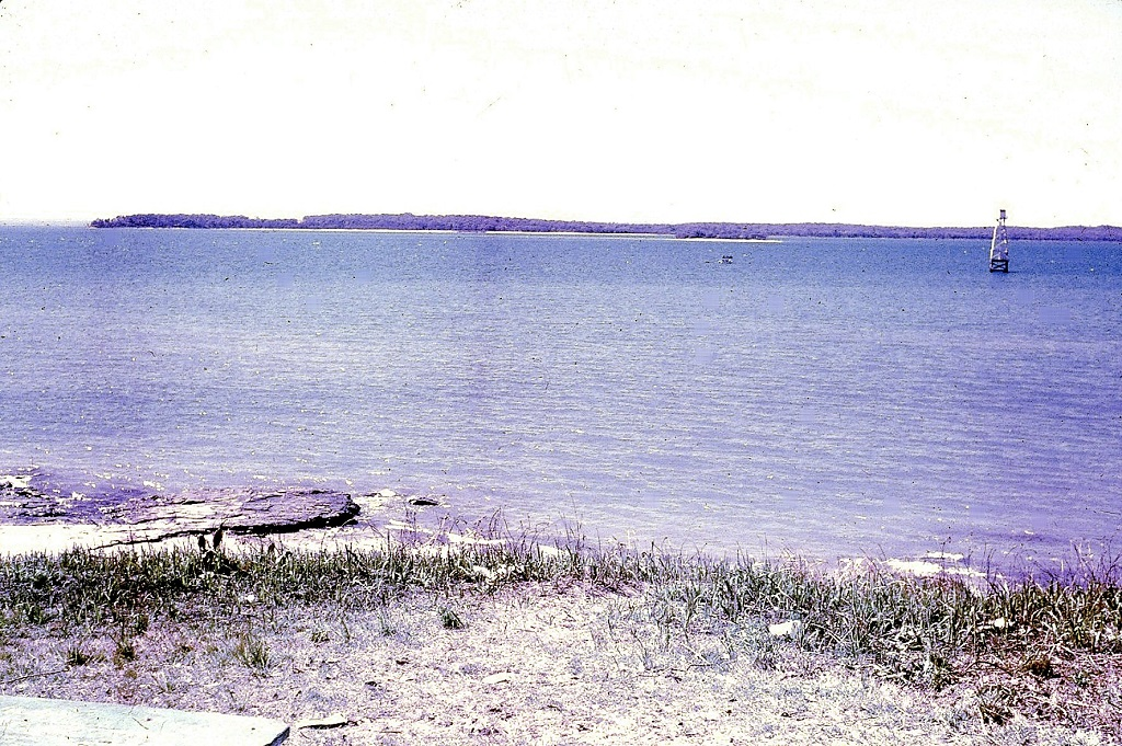 The channel marker as seen from Dayman Point about 1961.
