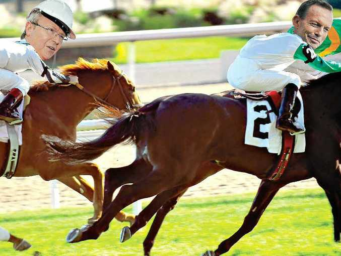 AND THEY'RE RACING: Kevin Rudd and Tony Abbott will be in a race to the finish on September 7 and so too will the thoroughbreds at Coutts Crossing Country Music Cup.