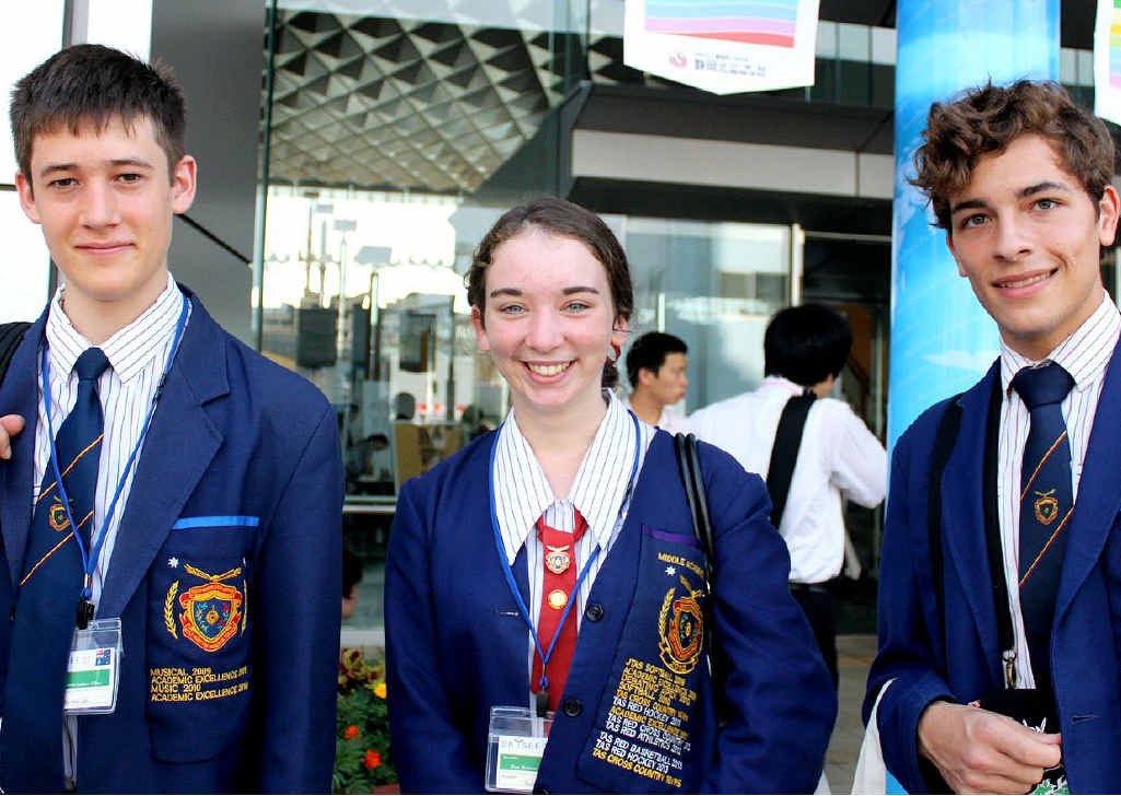 VICTORS' SPOILS: WestMAC students Matthew Eden, Katelyn Gough and Hamish Wood have returned from Japan where they were awarded first place for their scientific research into energy alternatives.