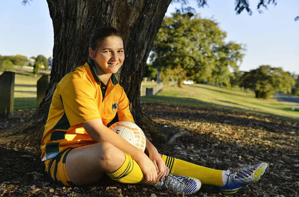 STRIKING PERFORMER: Rochelle Vidler, 13, was chosen in the Queensland schoolgirls football team for the Australian championships next month.