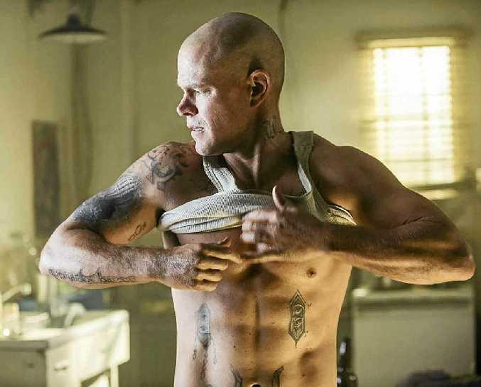 Matt Damon in a scene from the movie Elysium.