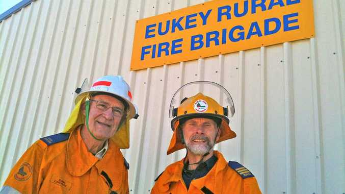 BE FIRE READY: John Lindsay and First Officer David Entermann at the Eukey Fire Brigade Shed.