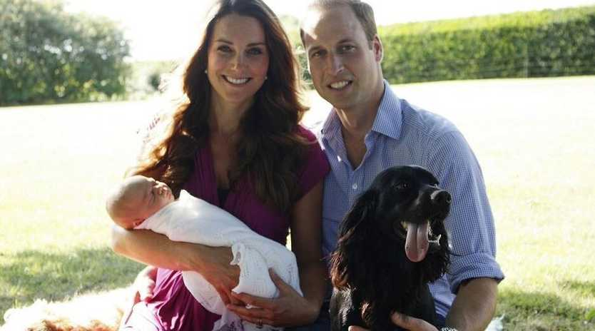 Proud mum and dad William and Kate, with their baby Prince George.